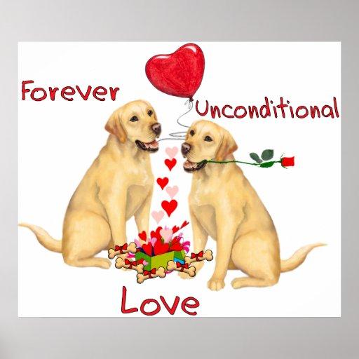 Tarjeta del día de San Valentín de Labrador Impresiones
