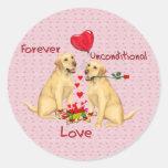 Tarjeta del día de San Valentín de Labrador Pegatina