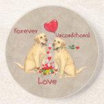 Tarjeta del día de San Valentín de Labrador Posavasos Personalizados