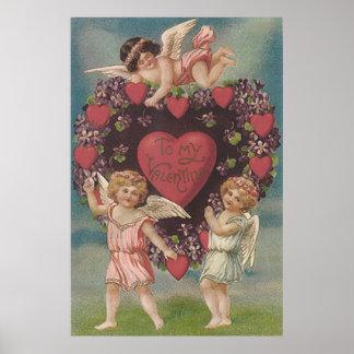 Tarjeta del día de San Valentín de las violetas Póster