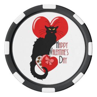 Tarjeta del día de San Valentín de Le Chat Noir Juego De Fichas De Póquer