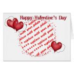 Tarjeta del día de San Valentín de los corazones d