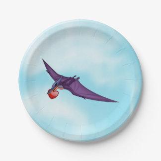 Tarjeta del día de San Valentín de Pteranodon Plato De Papel De 7 Pulgadas