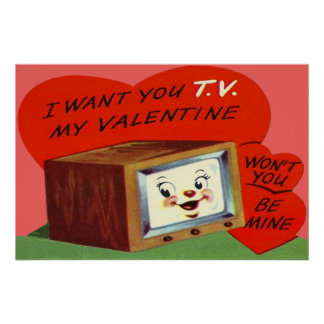 Tarjeta del día de San Valentín de T.V. Television Póster