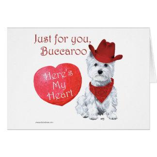 Tarjeta del día de San Valentín de Terrier blanco
