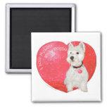 Tarjeta del día de San Valentín de Terrier blanco  Iman De Frigorífico