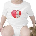 Tarjeta del día de San Valentín de Terrier blanco Trajes De Bebé