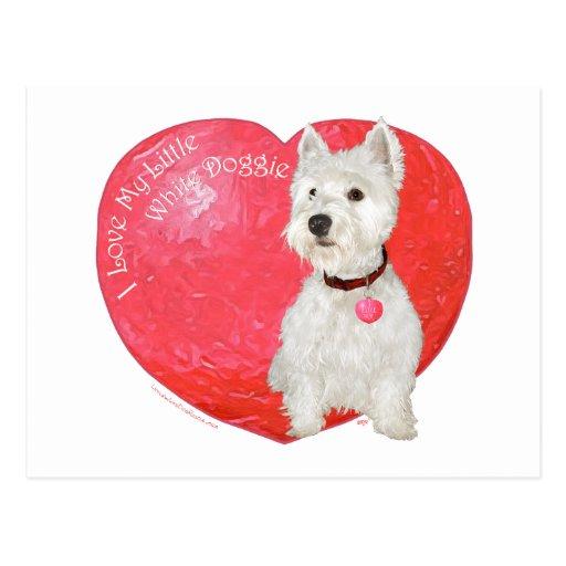 Tarjeta del día de San Valentín de Terrier blanco  Tarjeta Postal