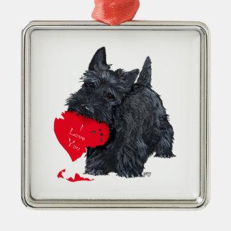 Tarjeta del día de San Valentín de Terrier del Adorno Cuadrado Plateado