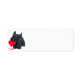 Tarjeta del día de San Valentín de Terrier del esc Etiqueta De Remite