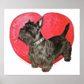 Tarjeta del día de San Valentín de Terrier del esc Poster