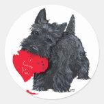 Tarjeta del día de San Valentín de Terrier del esc Pegatinas