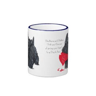 Tarjeta del día de San Valentín de Terrier del esc Tazas De Café