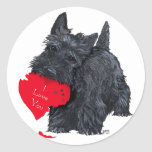 Tarjeta del día de San Valentín de Terrier del Pegatinas Redondas
