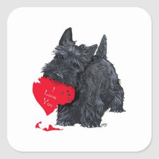 Tarjeta del día de San Valentín de Terrier del Pegatina Cuadrada