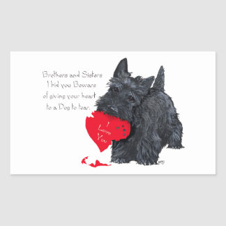Tarjeta del día de San Valentín de Terrier del Pegatina Rectangular