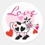 Tarjeta del día de San Valentín del amor de Mooey Etiquetas Redondas