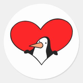 Tarjeta del día de San Valentín del amor del pingü Etiquetas