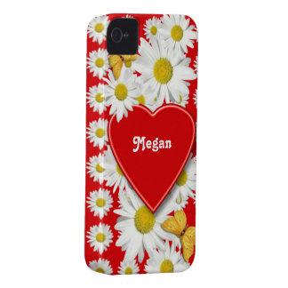 Tarjeta del día de San Valentín del amor y de los  iPhone 4 Cárcasas