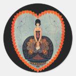 Tarjeta del día de San Valentín del art déco Etiqueta Redonda
