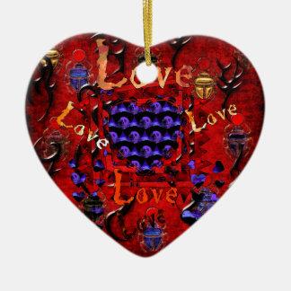 Tarjeta del día de San Valentín del arte del cráne Ornamento Para Arbol De Navidad