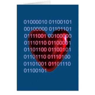 Tarjeta del día de San Valentín del código binario