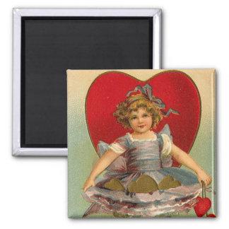 Tarjeta del día de San Valentín del corazón del ch Imán Cuadrado