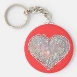 Tarjeta del día de San Valentín del cordón Llavero Redondo Tipo Pin