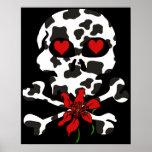 Tarjeta del día de San Valentín del cráneo de la v Poster