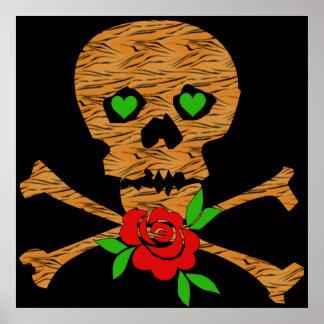 Tarjeta del día de San Valentín del cráneo del tig Posters