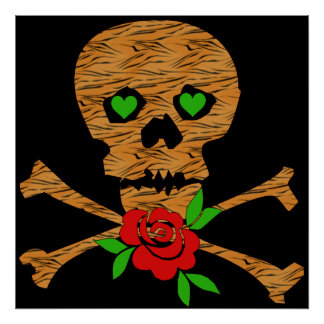 Tarjeta del día de San Valentín del cráneo del tig Póster