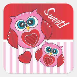 Tarjeta del día de San Valentín del dulce del búho Pegatina Cuadrada