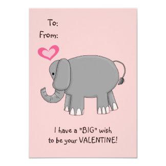 """Tarjeta del día de San Valentín del elefante para Invitación 4.5"""" X 6.25"""""""