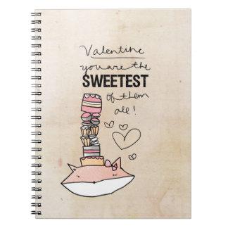 Tarjeta del día de San Valentín del Fox el | usted Libretas Espirales