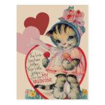 Tarjeta del día de San Valentín del gatito del vin Postal