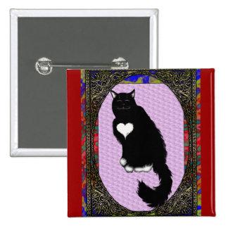 tarjeta del día de San Valentín del gatito Pin Cuadrado
