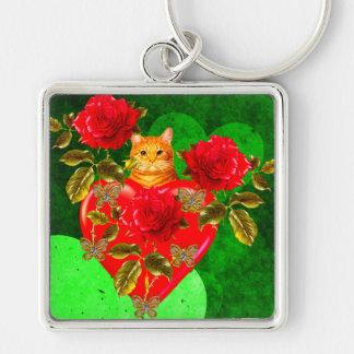 Tarjeta del día de San Valentín del gato del gatit Llavero Cuadrado Plateado
