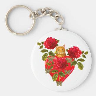 Tarjeta del día de San Valentín del gato del gatit Llavero Redondo Tipo Pin