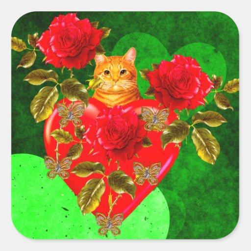 Tarjeta del día de San Valentín del gato del Pegatina Cuadrada