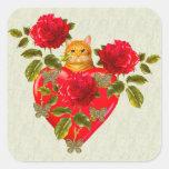 Tarjeta del día de San Valentín del gato del Pegatina Cuadradas Personalizada