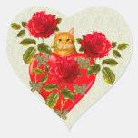Tarjeta del día de San Valentín del gato del Pegatina Corazón