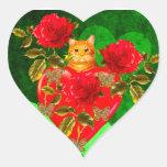 Tarjeta del día de San Valentín del gato del Pegatina En Forma De Corazón