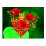 Tarjeta del día de San Valentín del gato del Postal