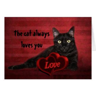 Tarjeta del día de San Valentín del gato negro