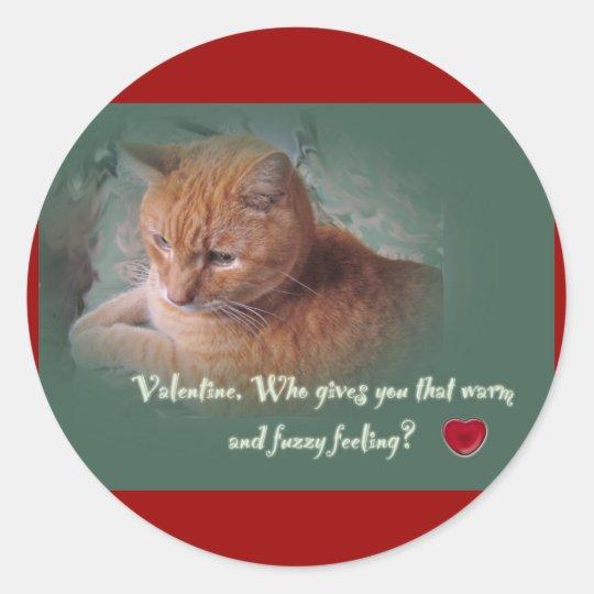 Tarjeta del día de San Valentín del gato Pegatina Redonda
