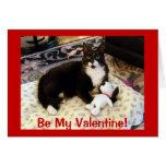 Tarjeta del día de San Valentín del gato y del per