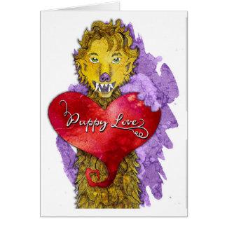 Tarjeta del día de San Valentín del hombre lobo