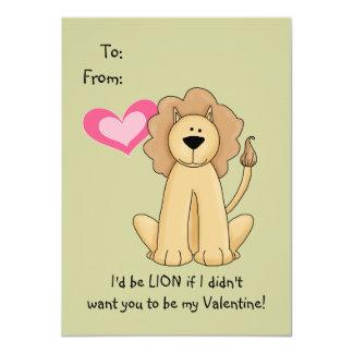 Tarjeta del día de San Valentín del león para los Anuncio Personalizado