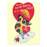 Tarjeta del día de San Valentín del mapache del vi Postal