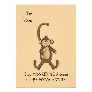 """Tarjeta del día de San Valentín del mono para los Invitación 4.5"""" X 6.25"""""""